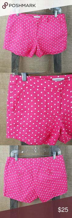 "J. Crew women's 4 polka dot shorts 100% Linen J. Crew women's 4 polka dot shorts 100% Linen casual pink.  Waist side to side: 16"" Length: 11"" Rise: 9.5"" J. Crew Shorts"