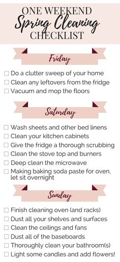 How to spring clean your house (the lazy way) in a weekend! Quick and easy checklist for deep cleaning your home in just three days.