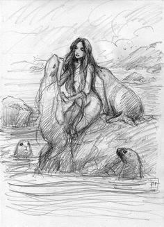 Selkie sketch by Aaron Pocock.