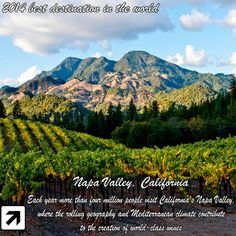 2014 Best Destinations in the World - Napa Valley, California #Travel