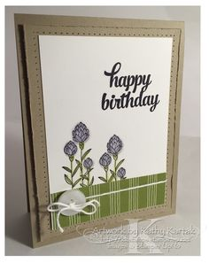 """A Flowering Birthday (Take Two) is made with Stampin' Up's """"Flowering Fields"""" and """"Tin of Cards"""" stamp sets."""