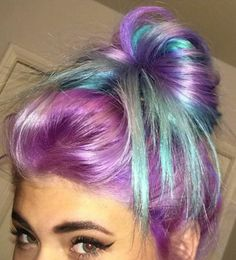 Purple blue messy bun dyed hair color @lilithstalker