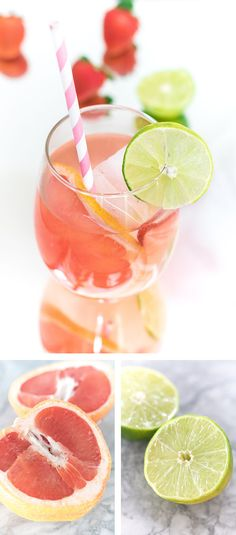 Grapefruit Rosé Sangria recipe featuring fresh-squeezed grapefruits, limes and citrus flavours. A perfect summer patio cocktail! Sangria Vodka Recipe, Sangria Drink, Rose Sangria, Sangria Recipes, Drinks Alcohol Recipes, Cocktails For Parties, Vodka Cocktails, Refreshing Cocktails, Summer Cocktails