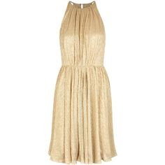 Halston Heritage Gold Open-back Plissé Dress - Size L ($535) ❤ liked on Polyvore featuring dresses, vestiti, yellow gold dress, halston heritage dress, open back dresses, metallic cocktail dress and gold dresses