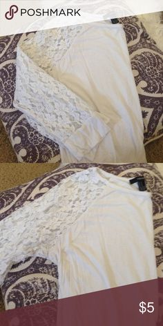 White Lace Top Used, does show signs of wear including staining under the armpit. 3/4th sleeves. Smoke free home Forever 21 Tops