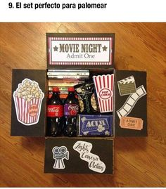 movie night box You are in the right place about DIY Gifts Here we offer you the most beautiful pictures about the DIY Gifts just because you are looking for. When you examine the movie night box part Diy Best Friend Gifts, Bf Gifts, Diy Gifts For Boyfriend, Homemade Gifts For Friends, Care Package Ideas For Boyfriend Just Because, Homemade Birthday Gifts, Boyfriend Care Package, Boyfriend Presents, Cute Gifts For Friends