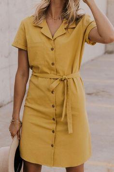 Cashel Button Dress Yellow Button-down Dress – Women's Modest Summer Dresses Modest Dresses, Casual Dresses For Women, Dresses For Work, Clothes For Women, Maxi Dresses, Elegant Dresses, Work Clothes, Formal Dresses, Casual Outfits