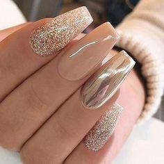 new years nails acrylic * new years nails . new years nails acrylic . new years nails gel . new years nails glitter . new years nails dip powder . new years nails design . new years nails short . new years nails coffin New Year's Nails, Fun Nails, Nice Nails, Gradient Nails, Matte Nails, Holographic Nails, Simple Nails, Classy Nails, Gold Gel Nails
