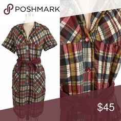 "⭐️ NEW ARRIVAL Vintage 1950s Plaid House Dress 1950s button front plaid sheath dress. Wonderful coloring with a red, yellow, blue and cream plaid, and matching red buttons. Small collar, large pockets! Puckered style fabric. Does not come with belt.  . M E A S U R E M E N T S .   b u s t : 40"" w a i s t : 38"" h i p : 40"" s l e e v e . i n s e a m : 2"" s h o u l d e r . w i d t h : 15"" g a r m e n t . l e n g t h : 39"" Vintage Dresses"