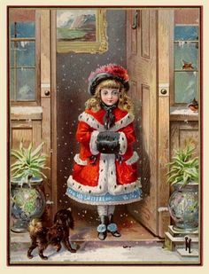 Old Christmas Post Card – 'Victorian Girl in the Doorway'  (533x700)