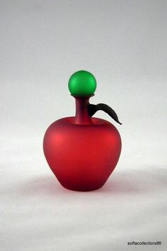 Red Satin Apple Perfume Bottle with Stopper by soflacollectors86 on Etsy, $67.00