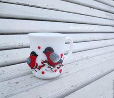 Купить Кружка Снегири Любовь -- из полимерной глины - белый, кружка, снегири, кружка со снегирями