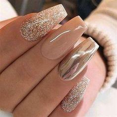 Beautiful Gel Nail Design You Will Love All This 04 Gold Acrylic Nails, Gold Nail Art, Bronze Nails, Shiny Nails, Pastel Nails, Acrylic Nails Glitter Ombre, Chrime Nails, Gold Tip Nails, Gold Chrome Nails