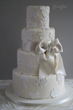 Example question: My dream wedding cake: Lace Applique wedding cake by Cotton and Crumbs Beautiful Wedding Cakes, Gorgeous Cakes, Pretty Cakes, Amazing Cakes, Dream Wedding, Lace Wedding, Elegant Wedding, Sophisticated Wedding, Floral Wedding
