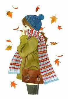 Pictures for tracing for beginners and advanced - Kunst-Illustration - Winter Autumn Art, Autumn Leaves, Fallen Leaves, Tracing Pictures, Autumn Illustration, Autumn Aesthetic, Illustrations, Hello Autumn, Happy Autumn