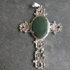 Green Gemstone Cabochon in Silver Cross Mounting by CabochonsByBev, $20.00