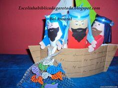 Escolinha Bíblica da Garotada: A pesca maravilhosa!... Barquinho feito com papelã...