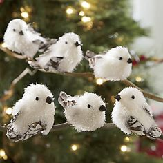 set of 6 mini snowbirds from through the country door nw41545 rustic christmas ornaments - Bird Ornaments For Christmas Tree
