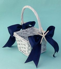 Beach Wedding Flower Girl Basket with 2 Starfish and White, Ivory, Aqua, Navy, Coral or Island Blue Ribbon on Etsy, $30.00