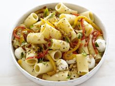 Roasted-Pepper Pasta Salad...looks yummy but not sure i'd like the almonds, i'd probably leave them out or substitute something else like chick peas or some juliened pepperoni???
