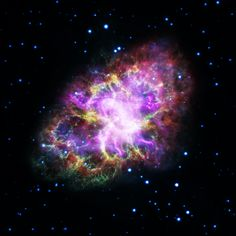 New View of the Crab Nebula This composite image of the Crab Nebula a supernova remnant was assembled by combining data from five telescopes spanning nearly the entire breadth of the electromagnetic spectrum: the Karl G. Jansky Very Large Array the Spitzer Space Telescope the Hubble Space Telescope the XMM-Newton Observatory and the Chandra X-ray Observatory.