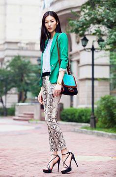 Green Blazer + Snake Print Pants
