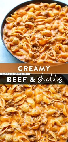 Grab a fork and dig right into this quick and easy pasta dish! Once you try this creamy, cheesy ground beef and shells, you'll want to make it for dinner again and again. Save this comfort food recipe! Italian Dinner Recipes, Easy Dinner Recipes, Dinner Ideas, Yummy Recipes, Vegan Recipes, Meal Ideas, Food Ideas, Easy Pasta Recipes, Recipes