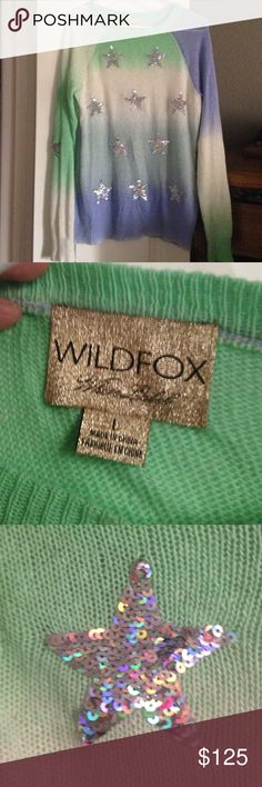 Wildfox multi holographic star sweater large Open knit with some natural variations in knot as is common in Wildfox knitted sweaters. Beautiful colors. Fancy holographic stars. Sz large. Wildfox Sweaters Crew & Scoop Necks