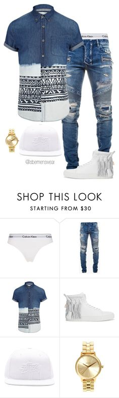 """Untitled #1130"" by efiaeemnxo ❤ liked on Polyvore featuring Calvin Klein Underwear, Balmain, River Island, BUSCEMI, Stussy, Nixon, menswear, MensFashion, sbemnxo and styledbyemnxo"