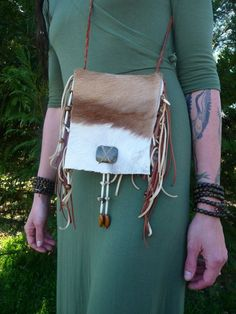 Authentic African Springbok Fur Pelt Purse, Shoulder Bag, Hand Bag, Beaded with Labradorite, Tiger's Eye, Buffalo Bone, Coyote Teeth and Claws, Deerskin Leather
