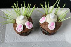 Bunny Butt Cupcakes {Perfect for an Easter Party at School} - Jen Around the World