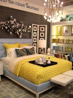 I love this idea for our guest bedroom. I love the use of yellow decor mixed in with grey and blue. I would have never thought to combine these colours but I love this room decoration! Dream Bedroom, Home Bedroom, Bedroom Decor, Pretty Bedroom, Wall Decor, Master Bedroom, Modern Bedroom, Wall Art, Bedroom Ideas