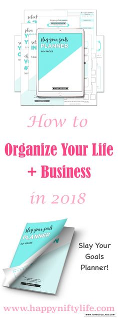 How to organize your life and business in 2018. How to set and achieve goals, and increase productivity. Plan your year, months and days.  #organizeyourlife #increaseproductivity #bestplanner #affiliate #ad