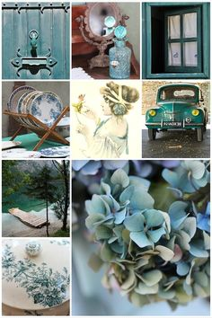 Good morning Ladies, such a lovely yellow board yesterday! Today let's try the colors in this mood board. Colour Schemes, Color Combos, Tiffany Blue, Collages, Decoration Shabby, Deco Champetre, Color Collage, Mood Colors, Beautiful Collage