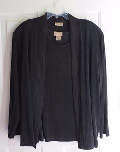Choices Woman 2 pc Twin Set Jacket & Top / Shirt / Blouse 3X Black Slinky #ChoicesWoman #Twinset