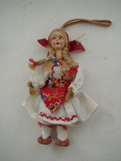 Vintage, Lenci Style, 5in Fabric Painted Face European Doll #Doll