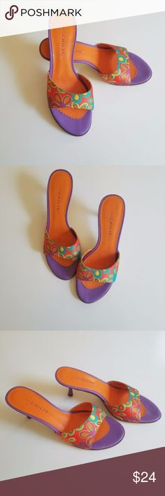 Women's Multi-color Mules Shoes Chilis Ziggy Multi-colored Open Toe Mules. Floral fabric uppers. 2 inch Kitten heels. Open toe. Bold purple and orange flower pattern. Casual or dressy. Nice for any occasion. Chilis Shoes Mules & Clogs