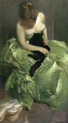 The Green Dress (ca. 1890-1899) by John White Alexander