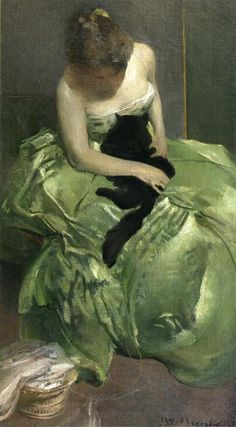"animalsinart:    ""You'll be finding black hairs in the folds of this dress for years now!""  arthistory-blog:    The Green Dress (ca. 1890-1899) by John White Alexander"