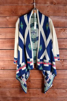 A chunky aztec print open front sweater with navy, green, pink and brown print. Fall Sweaters, Blue Sweaters, Cardigans, Drape Cardigan, Sweater Cardigan, Open Cardigan, Tribal Print Cardigan, Material Girls, Wholesale Clothing
