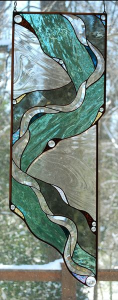 Glass Panel – Tributary – Stained Glass and Glass Art Techniques Faux Stained Glass, Stained Glass Designs, Stained Glass Projects, Stained Glass Windows, Contemporary Stained Glass Panels, Stained Glass Patterns Free, Mosaic Windows, Leaded Glass, Broken Glass Art
