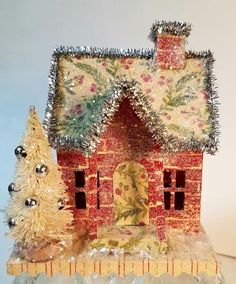Tim Holtz house die, Putz house, glitter house, vintage in KC store