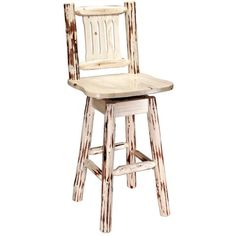 "Montana 30"" Swivel Bar Stool with Back, by Montana Woodworks"
