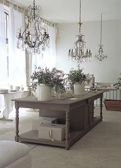 from 'Cote Bastide' showroom. Can u spare a chandelier? So beautiful. French Decor, French Country Decorating, Deco Champetre, Gray And White Kitchen, Interior And Exterior, Interior Design, Provence Style, Painted Furniture, Sweet Home