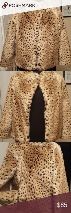 I.N.C. Faux fur leopard short jacket 3/4 length short leopard faux fur jacket never worn INC International Concepts Jackets & Coats