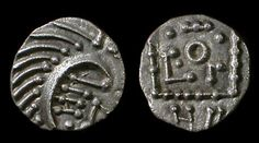 Anglo-Saxon. Continental Sceattas, c. 695-715 AD. Silver Sceat. Series E, Primary ('Ashton Rowant') phase, porcupine var. D-4. Mint in Frisia (Dorestad?). 'Porcupine' right, NII within curve of body; cross below, annulet at end of tail / Standard with central annulet; pseudo-legend around. 11mm, 1.19 g. ref: Abramson 90.10; SCBC 790B