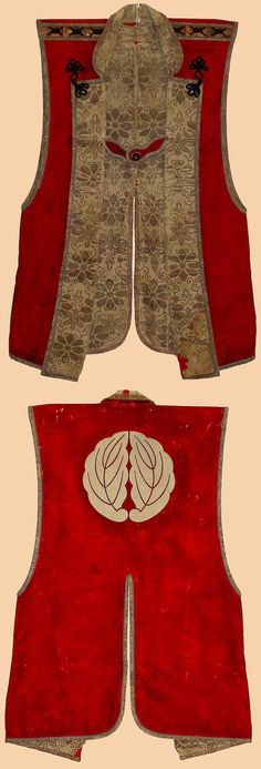 """Samurai Robe. This is a Jin-Baori, battle surcoat worn over armor which is made of red wool and silk brocade. Its design was partly copied from western clothing of Portuguese who first came to Japan in 16th century. It has beautiful """"warabi-mon"""" bracken crest in the back which is applique.    1700-1800 