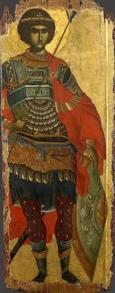 Heilige Joris - Saint George , Monastery of Vatopedi, Holy Mountain, Greece Byzantine Icons, Byzantine Art, Religious Icons, Religious Art, Russian Icons, Greek Art, Saint George, Orthodox Icons, Medieval Art