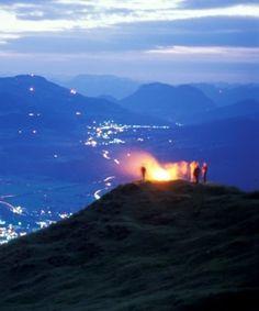 Sonnwendfeuer in St. Johann in Tirol, © Albin Niederstrasser Mount Everest, Celestial, Mountains, Sunset, Nature, Travel, Outdoor, Outdoors, Naturaleza