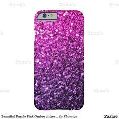 Beautiful Purple Pink Ombre glitter sparkles iPhone 6 Case by #PLdesign #PinkSparkles #SparklesCase